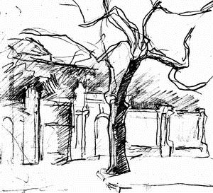 Остатки былой роскоши, или Одряхлевший особняк (карандашная зарисовка)