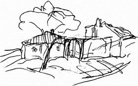 Домик на склоне холма (риунок карандашом)
