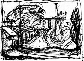 Провинциальный уголок (карандашный рисунок)