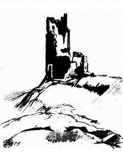 Обращенная в руину, но сохраняющая свой грозный вид башня Климента - одно из сооружений средневековой генуэзской крепости (акварель)