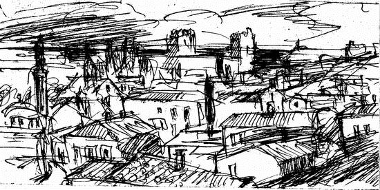Жаль, если Ваш браузер не загрузил этот набросок панорамы Феодосии, какой она видится с холма Митридат...